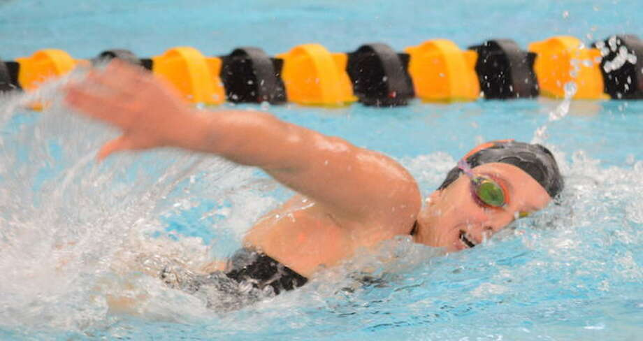 Rylie Giles was among the top contributors as the Ridgefield High girls swim team finished fourth at the State Open. — Andy Hutchison photo