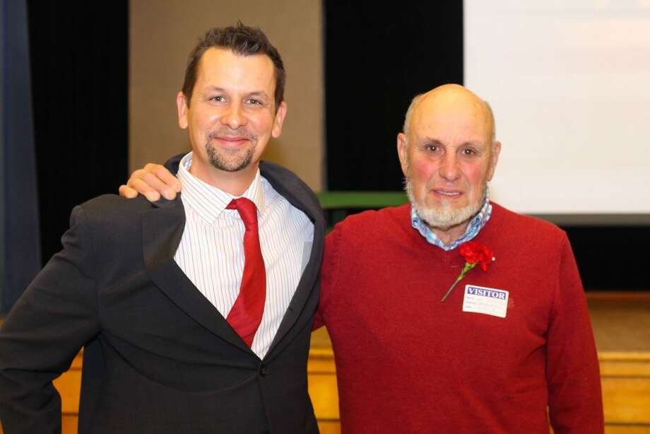 Branchville Elementary School Principal Keith Margolus and his dad, Louis Margolus, a veteran, celebrated Veterans Day together at an assembly at Branchville.