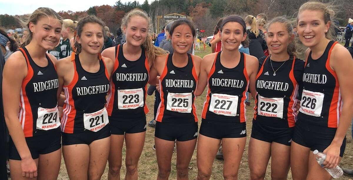 Rory McGrath, Elizabeth DeMassa, Katie Langis, Samantha McLemore, Gabby Viggiano, Elizabeth Jasminski, and Tess Pisanelli competed for Ridgefield at Saturday's New England cross country championships in New Hampshire. The Tigers finished sixth in the team standings.