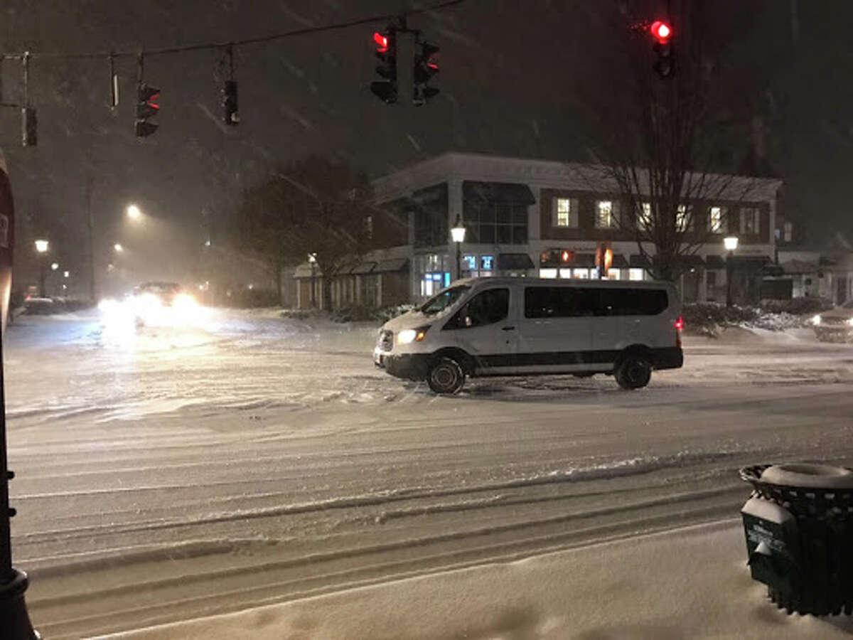 Main Street in Ridgefield was covered in snow Thursday, Nov. 15. - Ian Murren photo