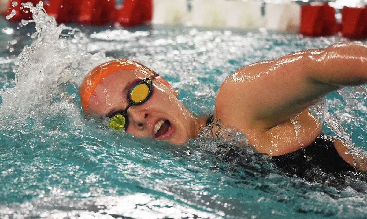 Anna Turner won two individual events for Ridgefield at the Class LL state championship meet. - Dave Stewart file photo
