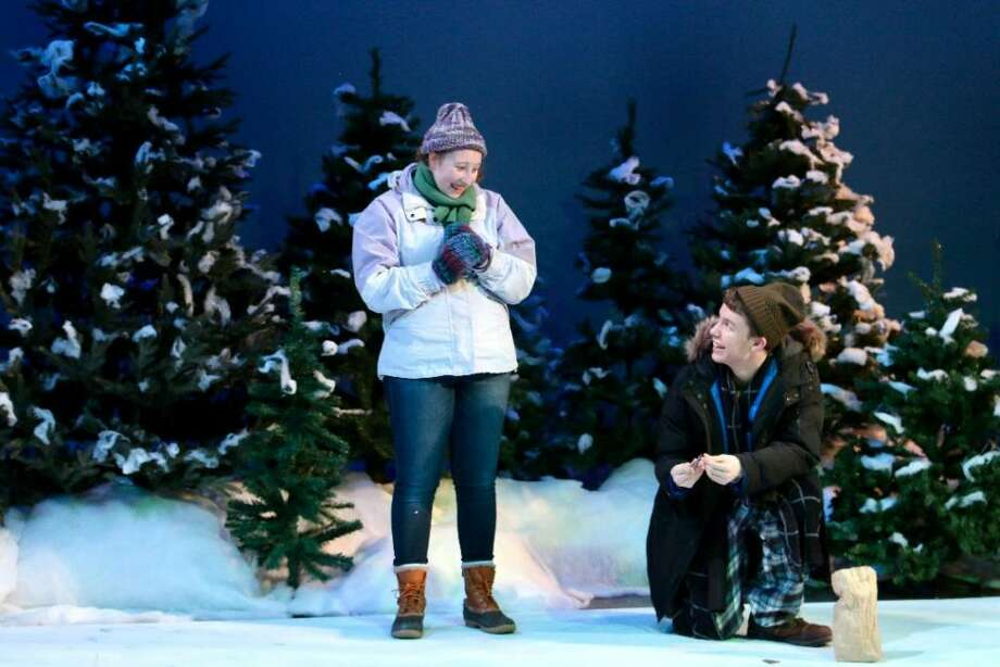 "Lucy Basile, left, and Thomas Mitchell play Glory and East in the vignette ""Her Heart"" in the Ridgefield High School production of Almost, Maine which opens tonight at 7:30. — Tanya Jaeger photo"