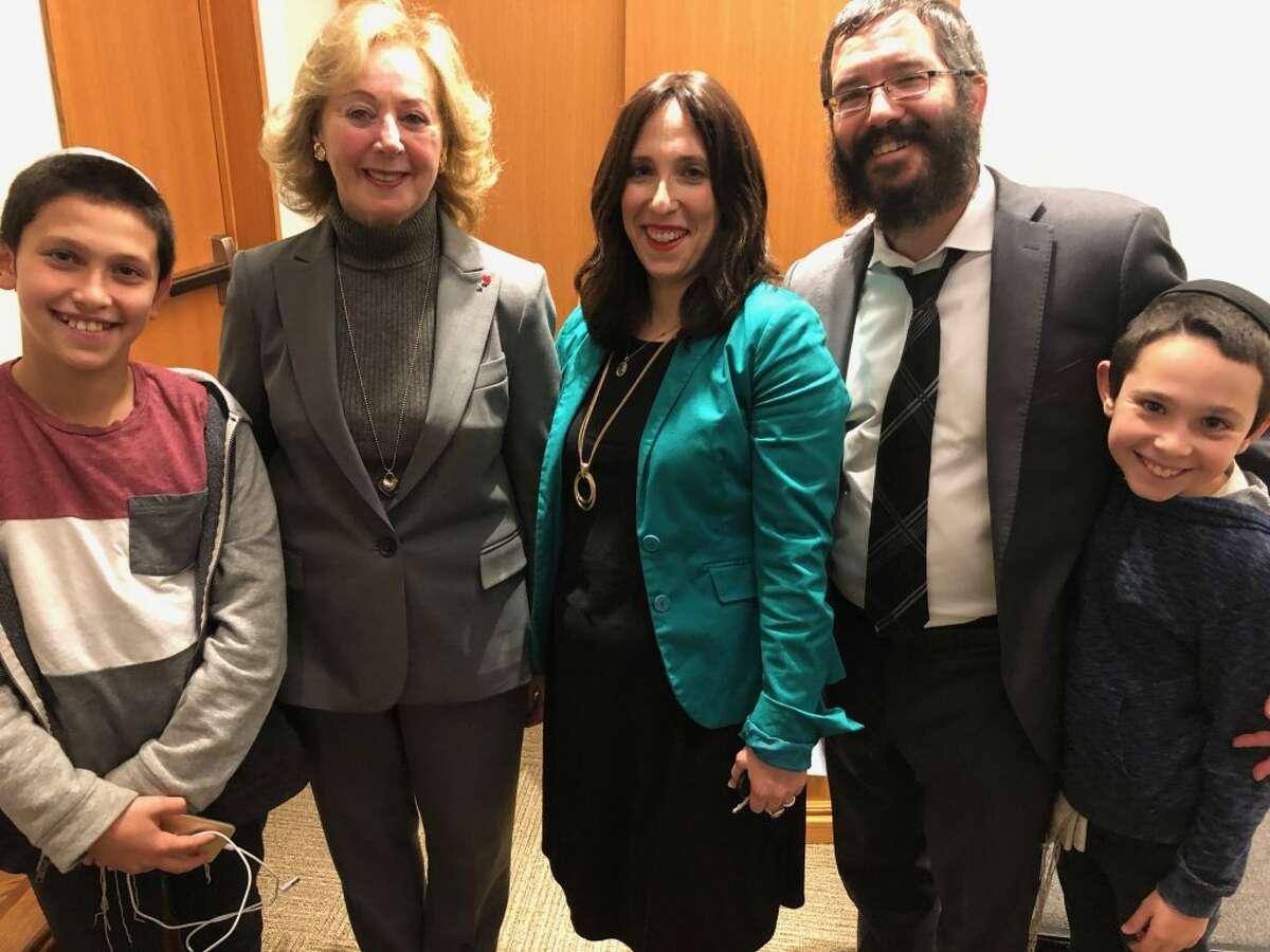From left to right: Yasef Deitsch, Judith Kallman, Chana Deitsch Rabbi Sholom Deitsch, and Zalman Deitsch.