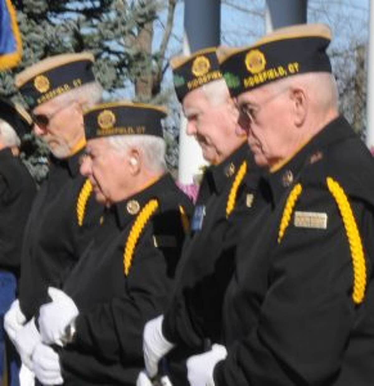 Veterans listened with bowed heads during ceremonies a the Community Center on Veterans Day 2018.