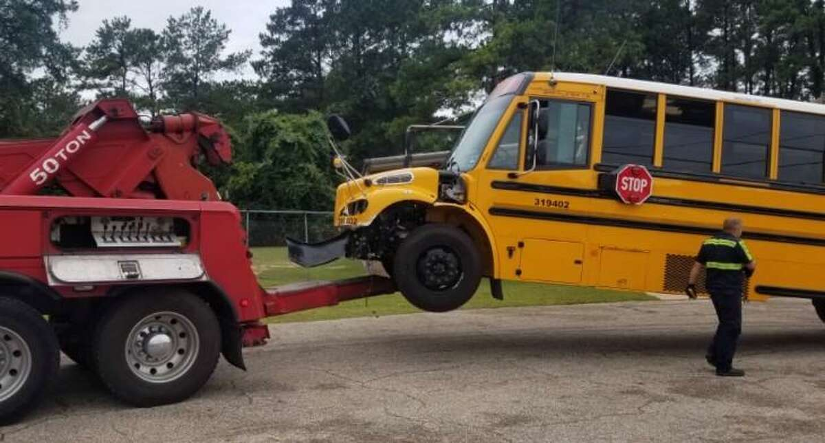 A Tomball ISD school bus hit a vehicle while leaving the Pinedale Mobile Home Community on June 17, 2019.