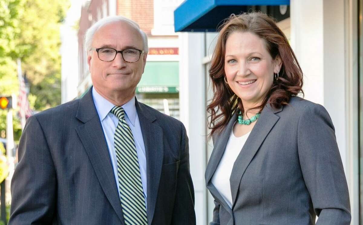 First Selectman Rudy Marconi and Aimee Berger-Girvalo.