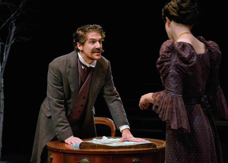 "Sam Rogers, of Portsmouth, N.H., and Alicia Napalitano, of Woodbury, in a scene from ""Uncle Vanya."" The Kennedy Center American College Theatre Festival (KCACTF) recognized Rogers for Distinguished Performance in a Play. Photo: Peggy Stewart / Contributed Photo / WCSU"