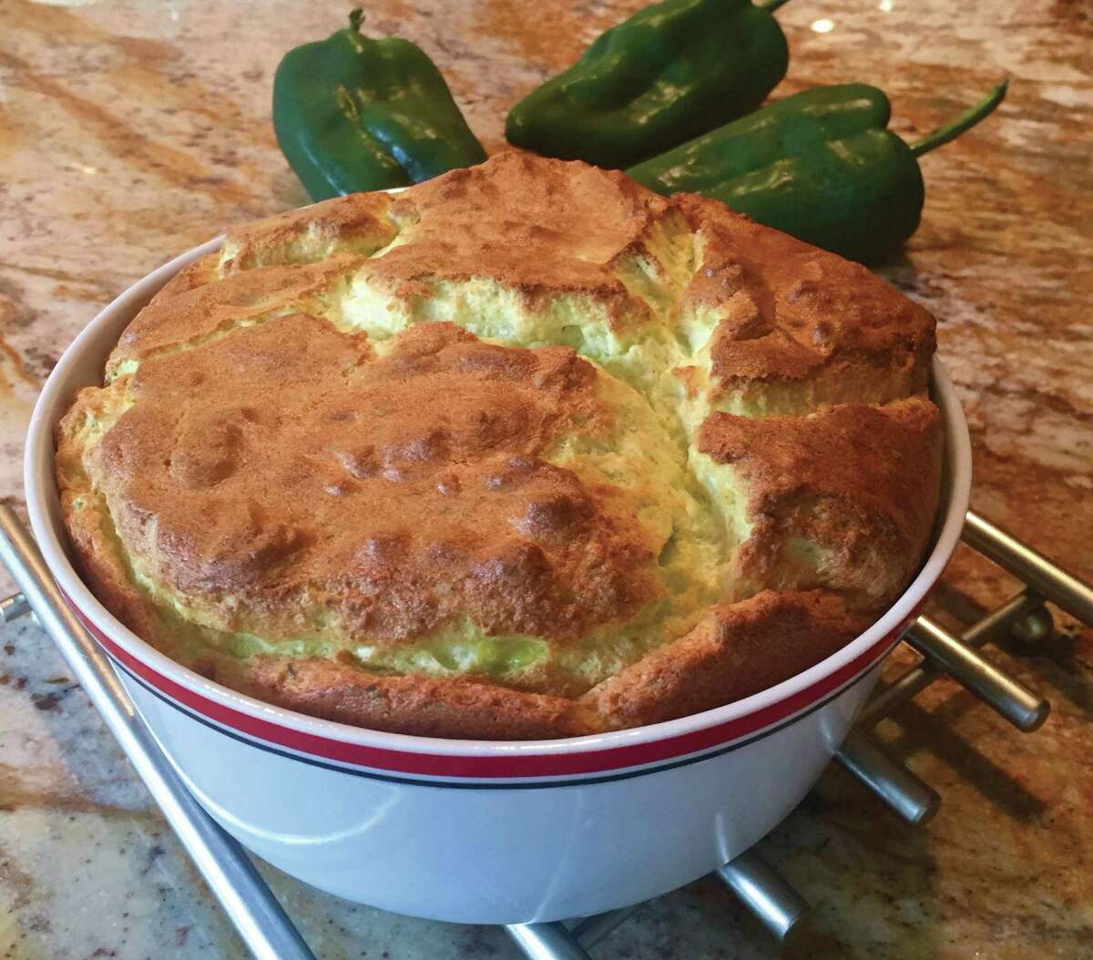 """Chile con Queso Soufflé from """"Don't Count the Tortillas"""" by Adán Medrano"""
