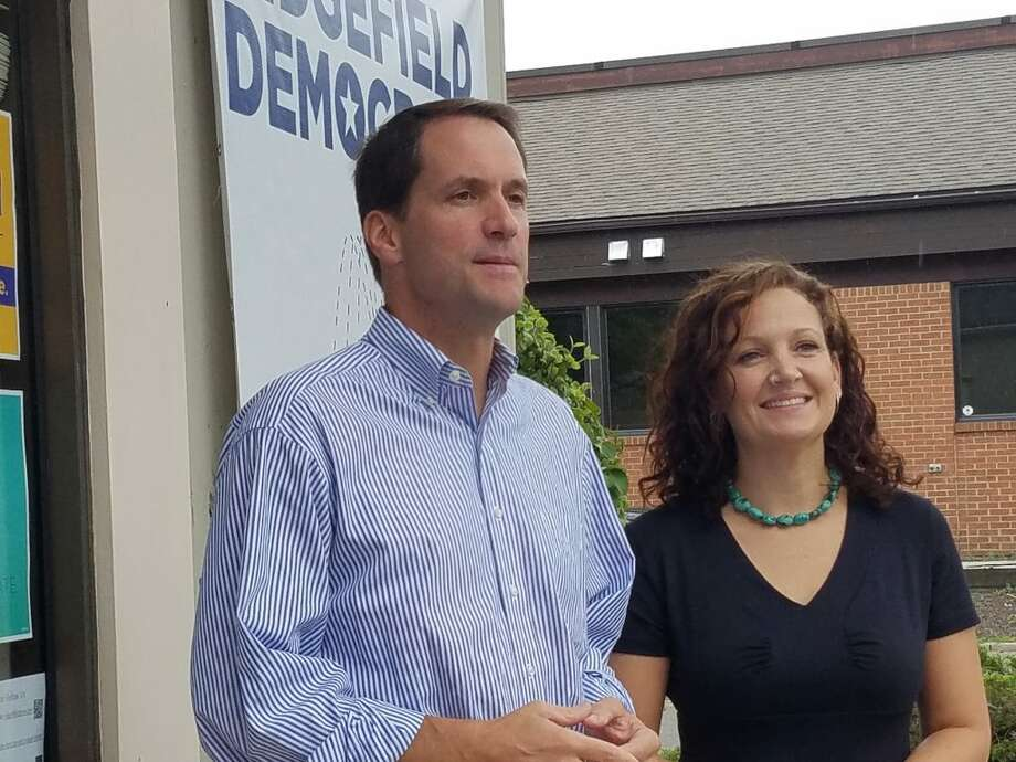 Aimee Berger-Girvalo, right, Democratic candidate for state representative for the 111th District (Ridgefield), has been endorsed by Congressman Jim Himes.