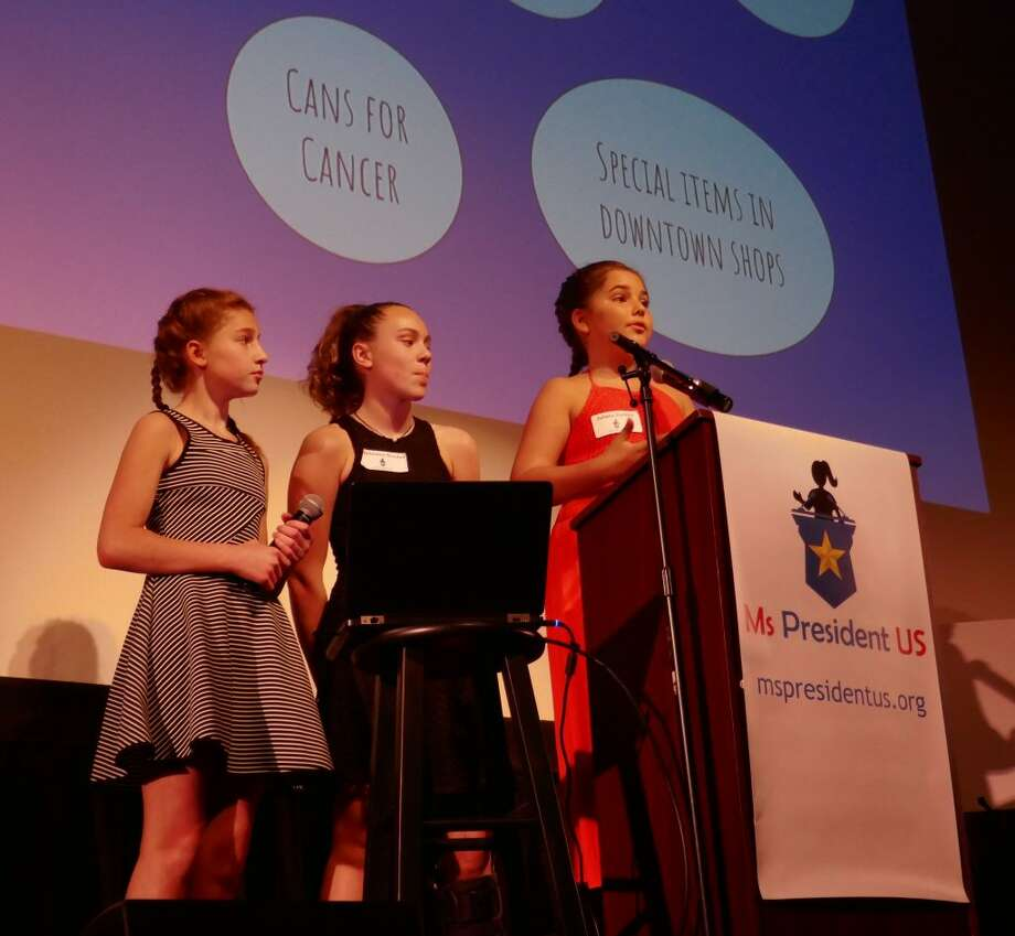 Avery Maddie and Julianna give speeches during last year's Ms President US election.