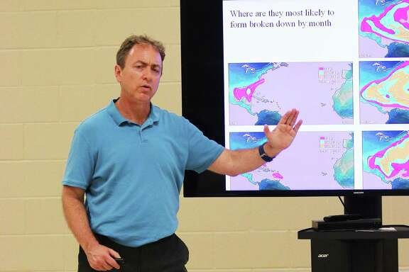 Dan Reilly, meteorologist with the National Weather Service, was the guest speaker for the Liberty County Hurricane Conference and shared valuable information to county officials and first responders.
