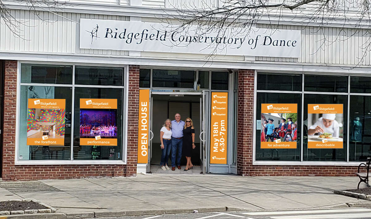 Wayne Addessi with Cathy Savoca and Suzanne Brennan after putting up inRidgefield posters at the Ridgefield Conservatory of Dance last summer.