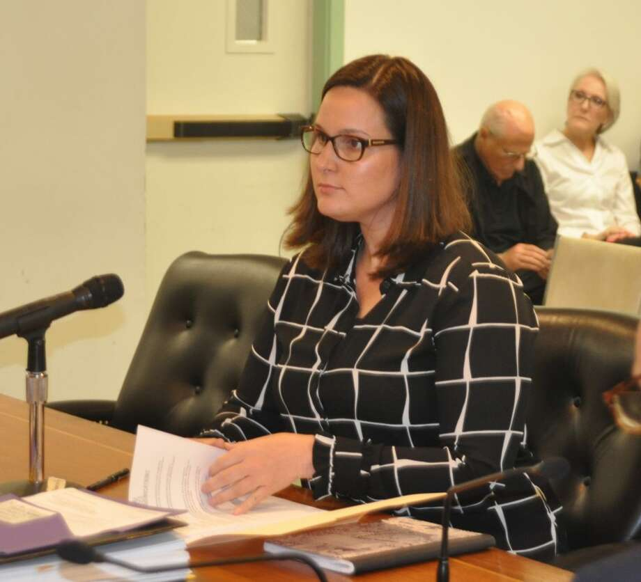 Emily Pambianchi of Social Graces Communications spoke to the selectmen at their Aug. 13 meeting. — Macklin Reid photo