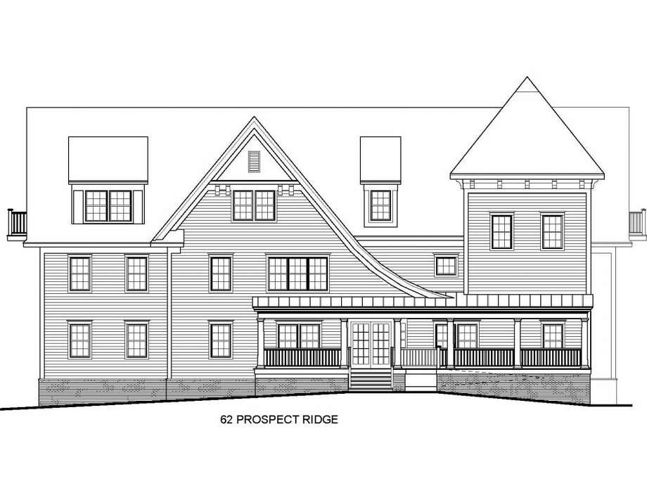 The building proposed at 62 Prospect Ridge Road would show this long eastern facade looking across the street toward the ball fields and dog park. — H&R Design drawing