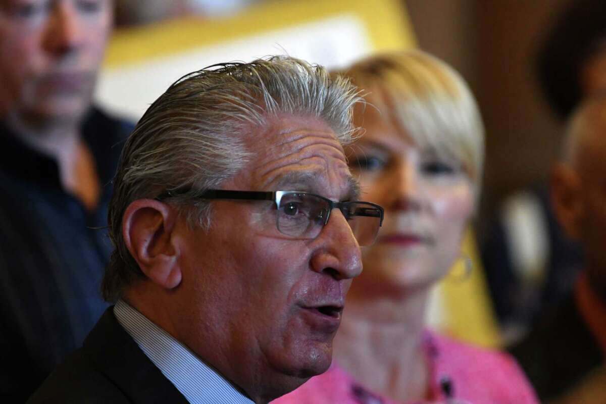 Sen. James Tedisco speaks during a press conference where lawmakers urged the state to launch an investigation of the St. Clare's Hospital pension fund collapse on Monday, June 17, 2019, at the Capitol in Albany, N.Y. Last year, over 1,000 former employees and retirees were notified their pensions would be eliminated or significantly decrease. (Will Waldron/Times Union)