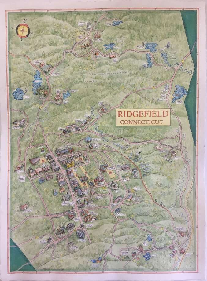 Bart Arnold of Massachusetts has drawn a visitors map that depicts many of Ridgefield's wonderful attractions.