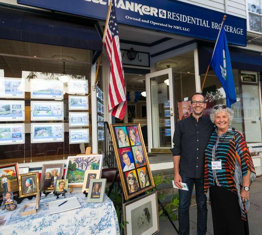 Josh Fischer and Martha Talburt on Main Street at last year's Art Walk presented by Ridgefield Guild of Artists.