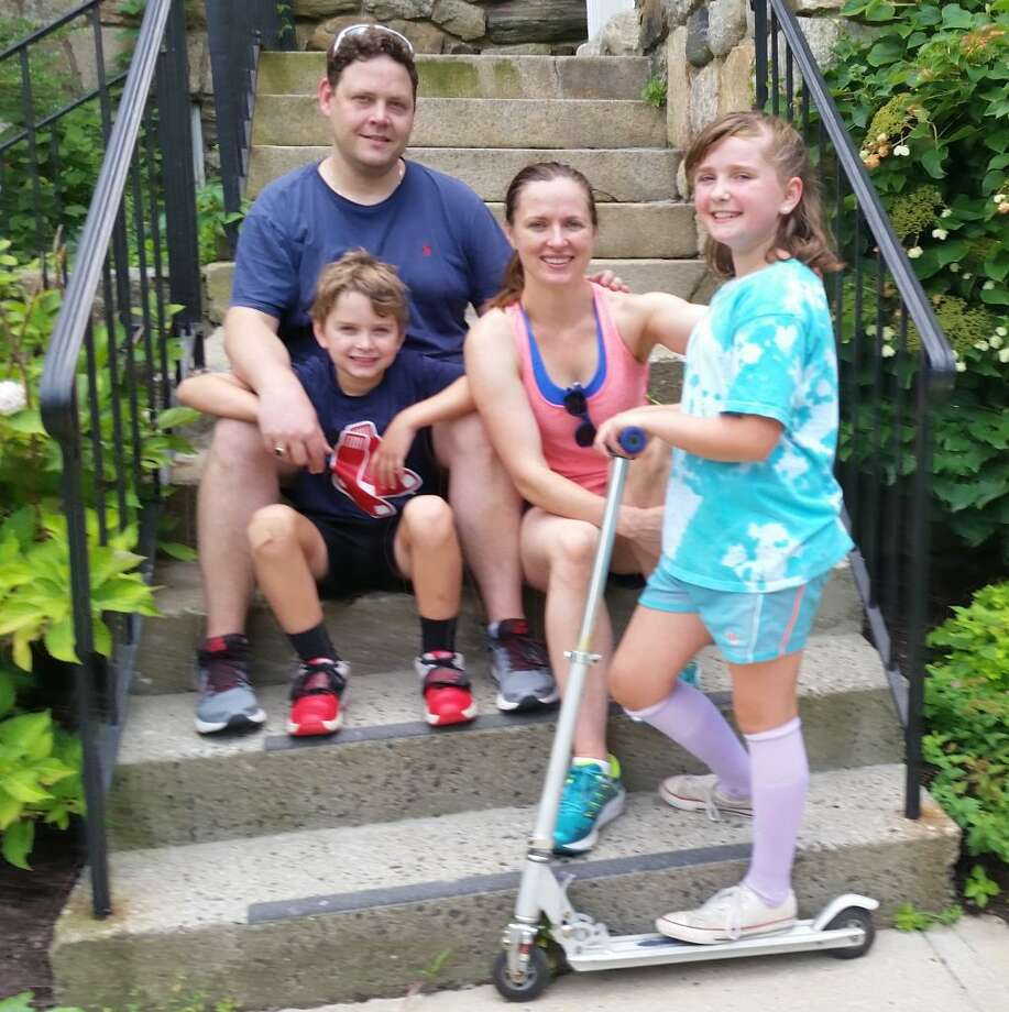 Leaders of Nutmeg Festival 2018, Nick and Claire Simard, with their son, Gabriel, and daughter, Amelie, who tested some of the toys for sale, including a Razor scooter.