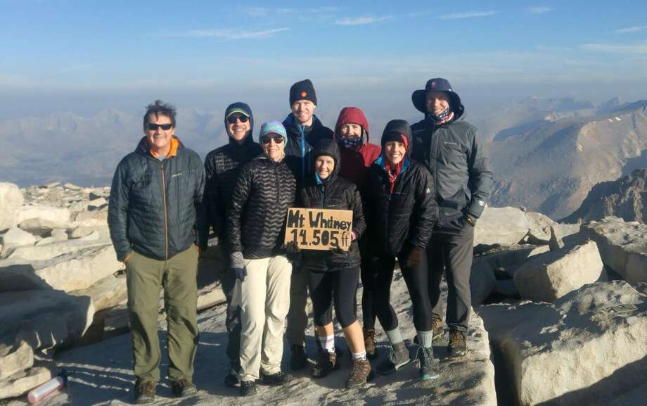 Eight people with ties to Ridgefield summited Mount Whitney in California on Thursday, Aug. 2, at about 7 a.m. At 14,505 feet it's the highest peak in the continental US. Photographed from left to right are: Gregg Hutchings, Dr. Bill Doty, Dot Doty, Andrew Okrongly, Manette Hutchings, Maddie Hutchings Lord, Mariah Hutchings and Zach Lord.