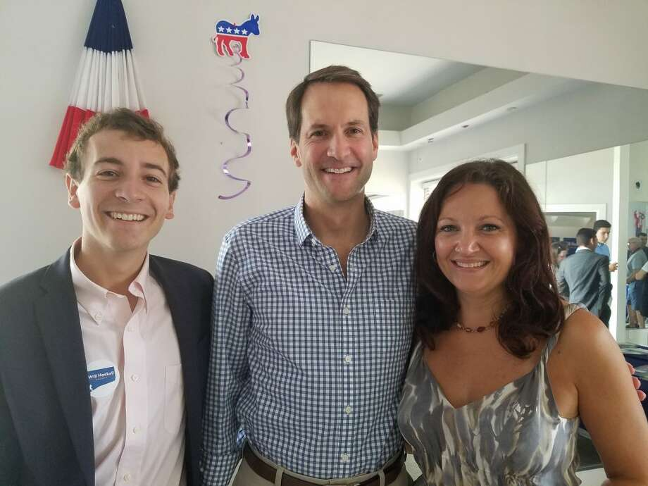 26th District State Senate candidate Will Haskell, Congressman Jim Himes, and 111th District State Representative candidate Aimee Berger-Girvalo.