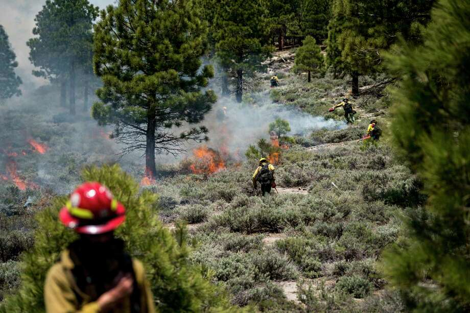 Firefighters initiate and work a controlled burn in the Inyo National Forest area of Mammoth Lakes in California on June 3, 2019. Photo: Washington Post Photo By Melina Mara / The Washington Post