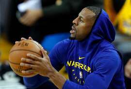 Golden State Warriors' Andre Iguodala before playing Toronto Raptors in NBA Finals' Game 3 at Oracle Arena in Oakland, Calif., on Wednesday, June 5, 2019.