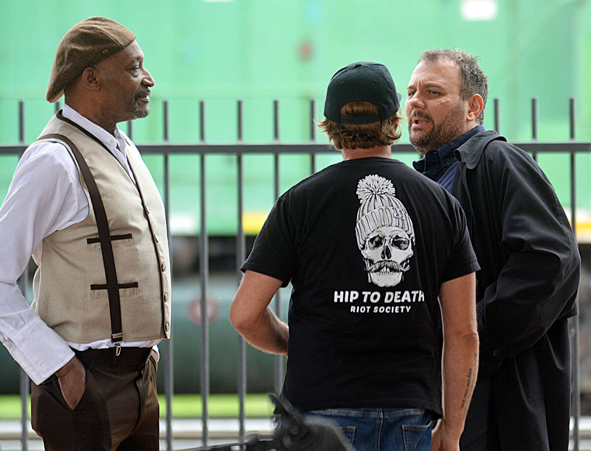 """Actors Tony Todd and Stelio Savante were spotted with """"Marfa"""" film crews on Monday shooting scenes around downtown Plainview."""