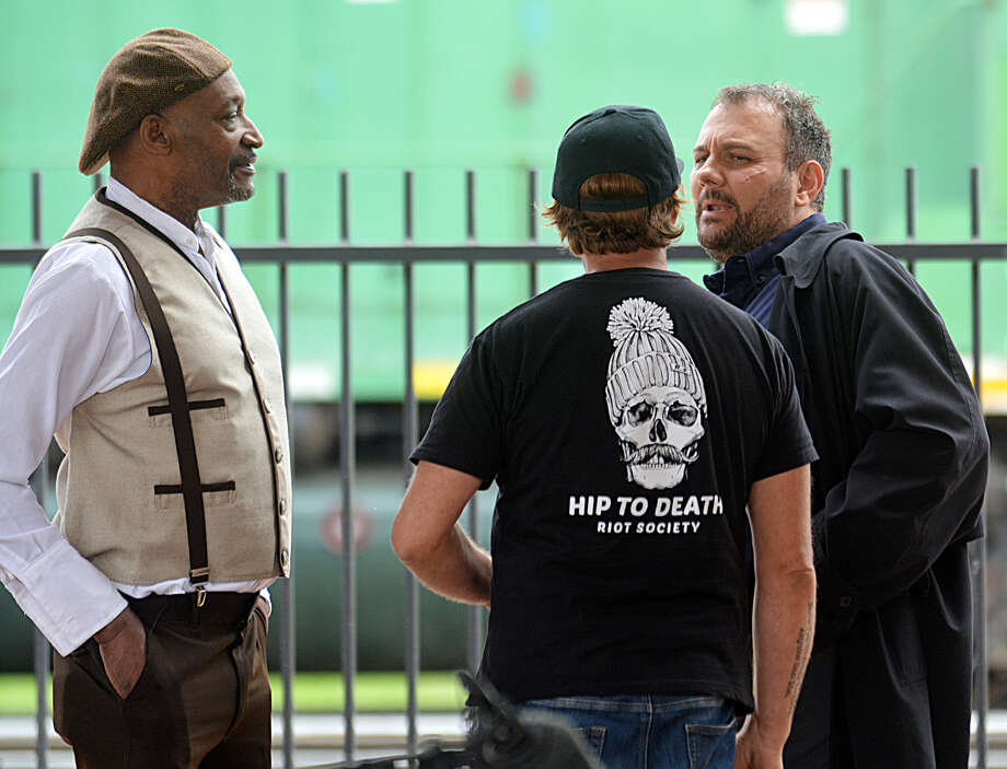 "Actors Tony Todd and Stelio Savante were spotted with ""Marfa"" film crews on Monday shooting scenes around downtown Plainview. Photo: Nathan Giese/Planview Herald"