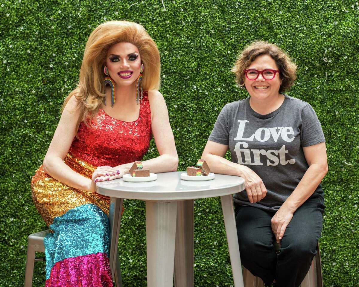 Pastry chef Rebecca Masson, right, has created a Pride flag riff on one of her best-selling bars, a Rice Krispies treat with salted caramel dipped in chocolate. Dessie's Love Bars, a collaboration with drag performer Dessie Love-Blake, will be sold at the Midtown bakery through June 23 for $5 each with 20 percent going to The Montrose Center. 314 Gray, 713-522-1900; fluffbakebar.com.