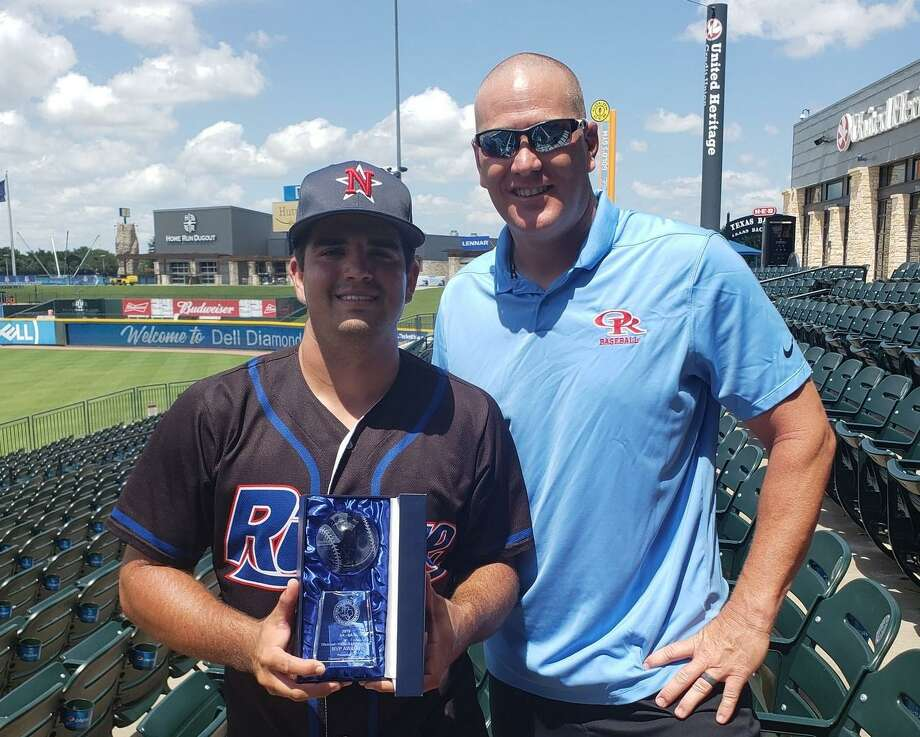 Logan Letney, left, poses with Oak Ridge baseball coach JJ Peirce after being named MVP of the 5A-6A Texas High School Baseball Coaches Association All-Star Game on Saturday, June 15, 2019 in Round Rock. Photo: Ridge Baseball / Twitter