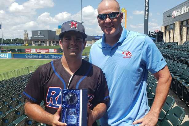 Logan Letney, left, poses with Oak Ridge baseball coach JJ Peirce after being named MVP of the 5A-6ATexas High School Baseball Coaches Association All-Star Game on Saturday, June 15, 2019 in Round Rock.