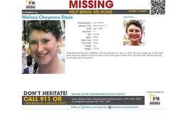 A flyer from the National Center for Missing and Exploited Children with information about Melissa Cheyenne Davis, reported missing from New Canaan Saturday, June 14.