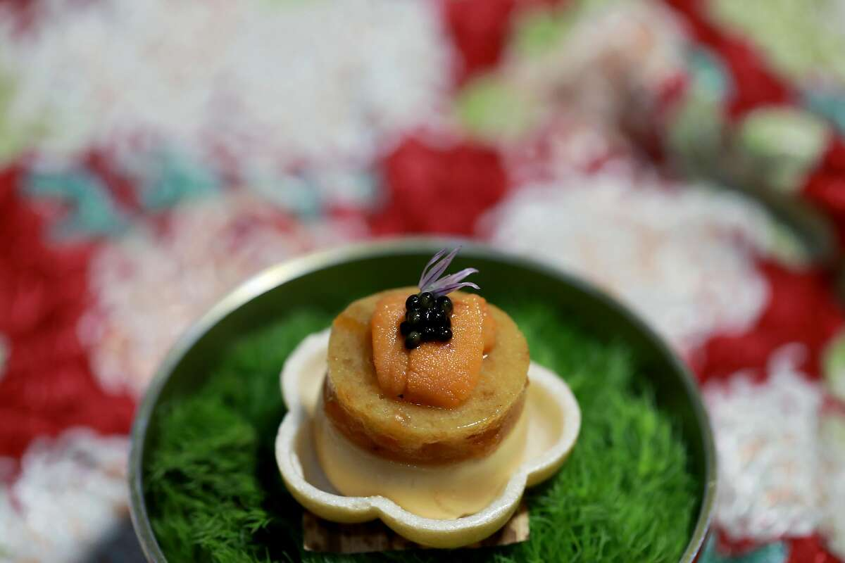 The Uni Pate at The Shota, located at 115 Sansome St., in San Francisco, Calif., on Thursday, May 23, 2019. The dish features Japanese monaka wafer shell; Hokkaido Ensui uni with yuzu persimmon marmalade topped with Osetra caviar and chive blossom.