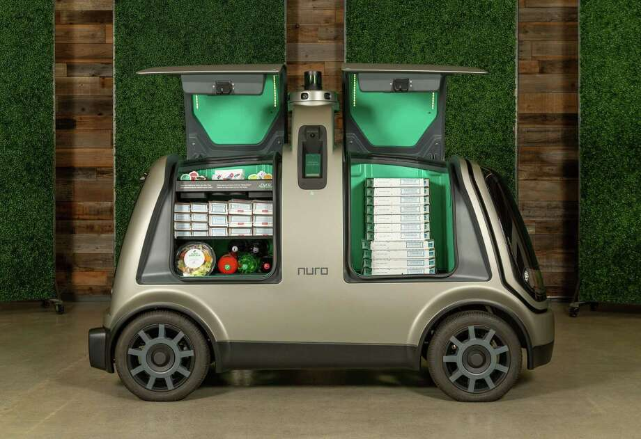 Domino's and Nuro are joining forces on autonomous pizza delivery using the custom unmanned vehicle known as the R2. Photo: Courtesy Of Nuro / Handout