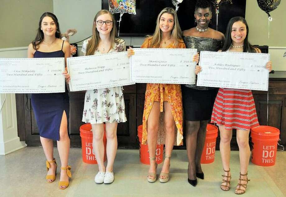 Local Trayce Loud Energetic Noisy Award Cheerleader Scholarship Fund winners are Rebecca Trip (Portland High School), Ashley Rodriguez (Mercy High School) and Alissa Mikulski and Maria Gioco (Middletown High School). Photo: Contributed Photo