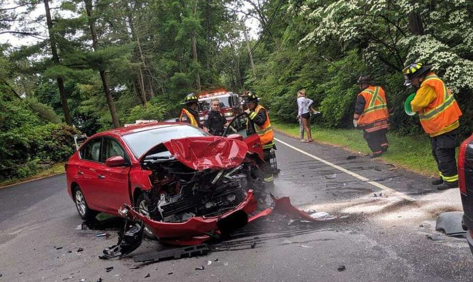 A two-car accident earlier today temporarily closed Easton Road in Westport Photo: Contributed Photo