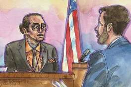 Max Harris, left, in this courtroom artist's sketch, at the Ghost Ship trial for Alemena and co-defendant Max Harris on Monday, June 17, 2019, in Oakland, Calif.