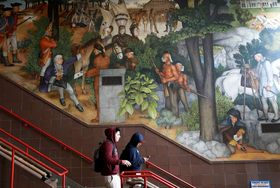 The historic mural depicts the treatment of American Indians and African Americans. Photo: Yalonda M. James, The Chronicle