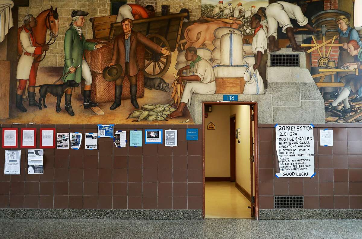 San Francisco school officials are expected to decide whether to destroy or keep the historic mural at George Washington High School, photographed in San Francisco, Calif., on Wednesday, April 3, 2019. The historic mural depicts the treatment of American Indians and African Americans.