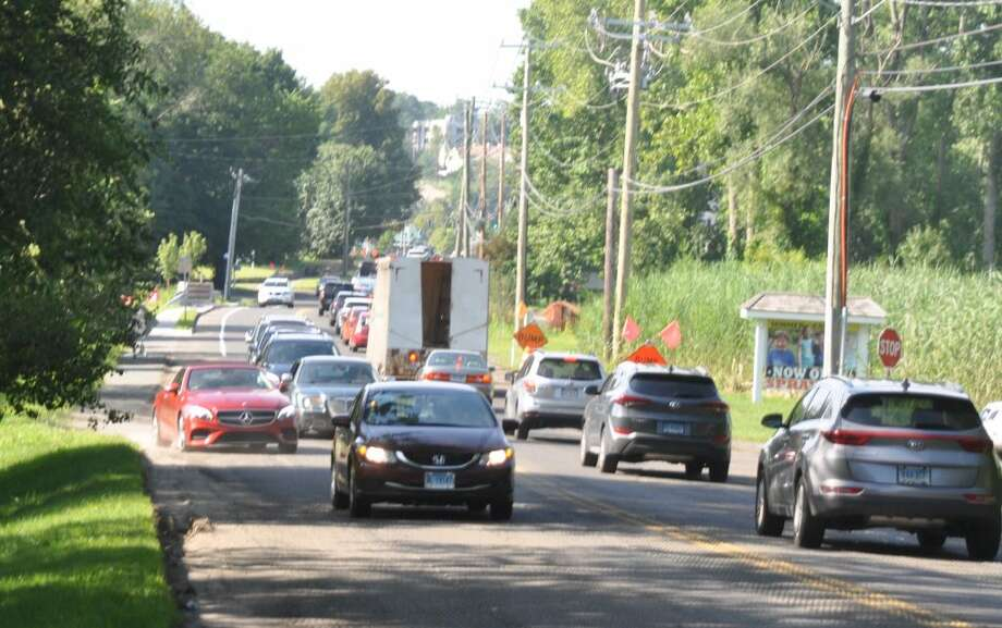 "The state plans a ""sliver widening"" of pavement to accommodate northbound drivers scooting around cars stopped on Route 35, waiting to turn into the Parks and Recreation driveway. — Macklin Reid photo"