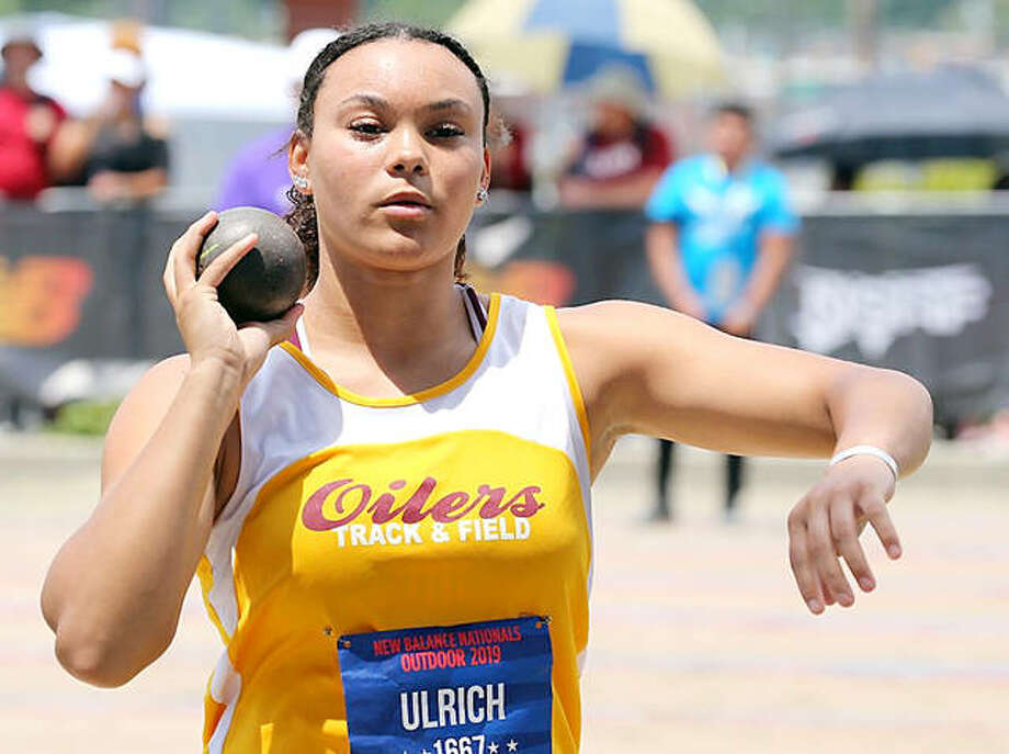 Jayden Ulrich of East Alton-Wood River High School competes in the shot put Sunday at the New Balance National Outdoor Meet in Greensboro, N.C. Ulrich's fifth-place finish earned her All-America status. Photo: New Balance Nationals Photo