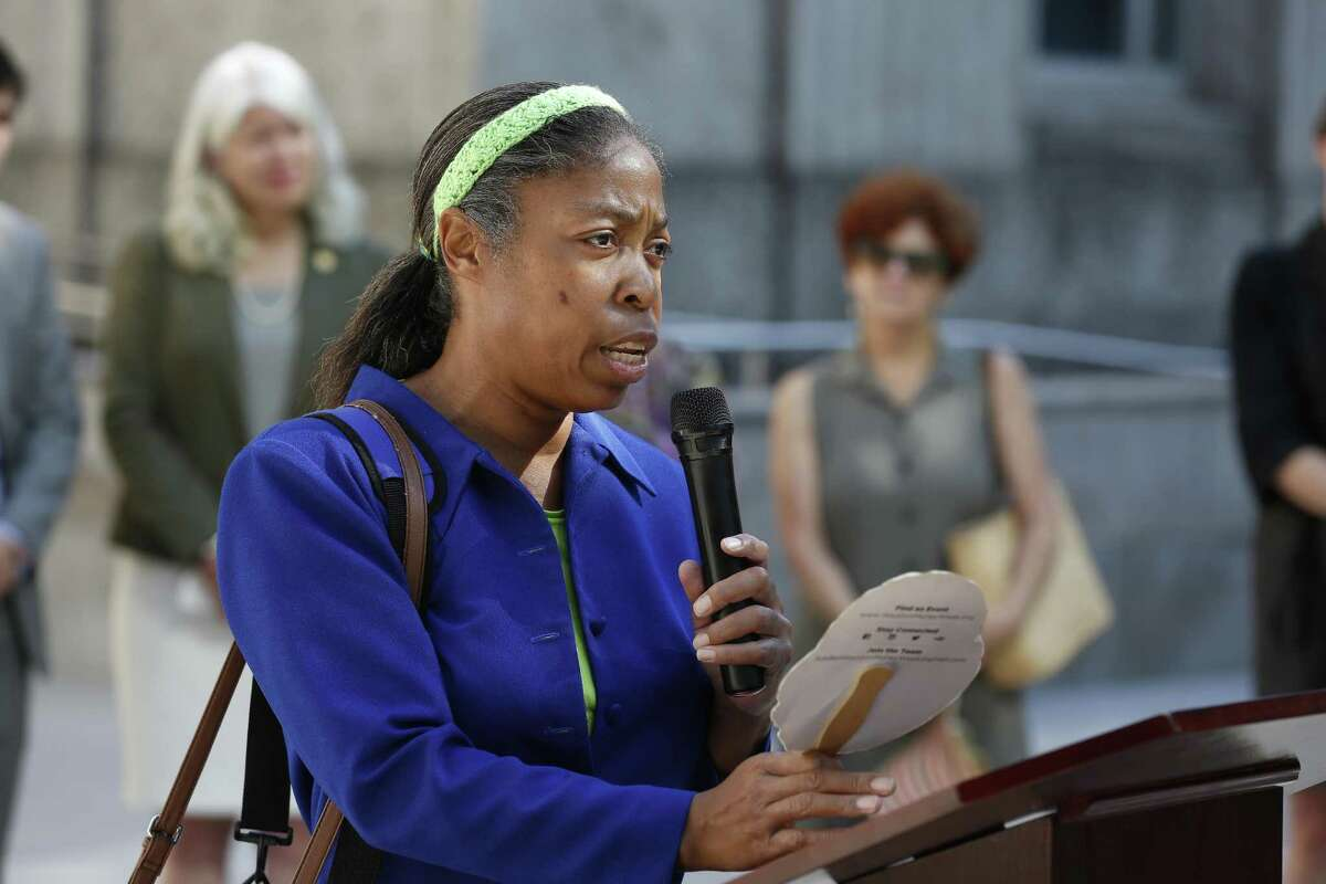 Machell E. Blackwell, a Near Northside resident voices her fears about pollution during a press conference about the health effects of a planned widening of Interstate 45 on June 13 outside Houston City Hall.