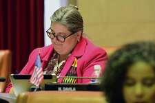 New York State Assemblymember Carrie Woerner is seen as lawmakers vote on bills in the Assembly chamber on Monday, June 17, 2019 in Albany, N.Y. (Lori Van Buren/Times Union)