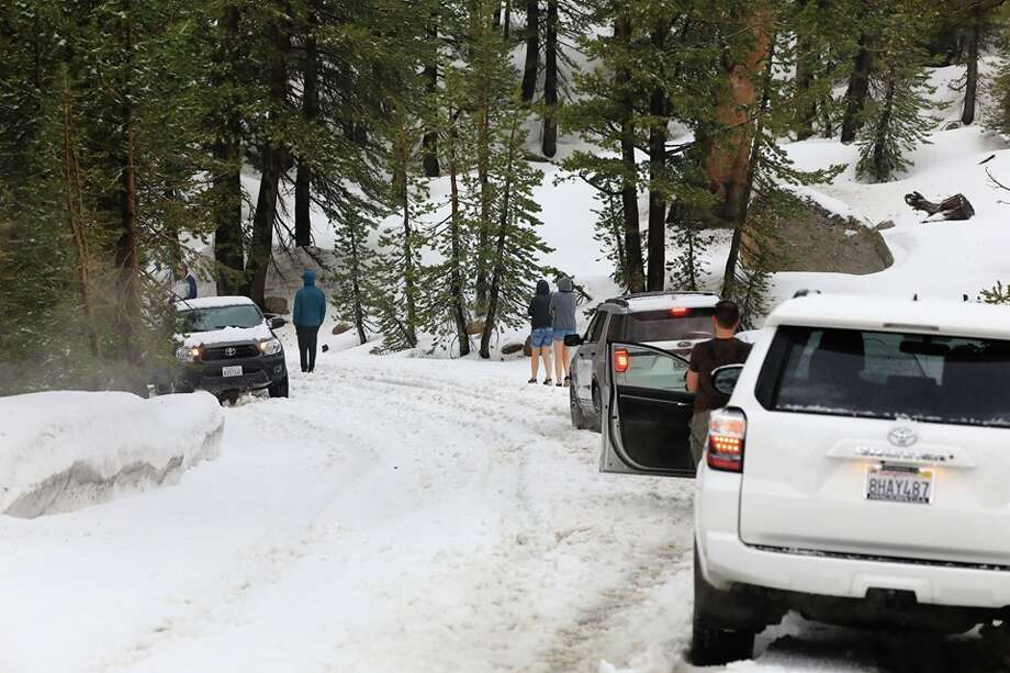 """Many cars stuck on Sonora Pass summit due to about one hour of hail. Photo taken 4:30PM - June 16, 2019."" Photo: George Kellogg"