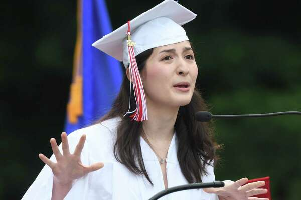 Co-Valedictorian Monique Nikolov speaks at the 2019 Graduation at Greenwich's High School's Cardinal Stadium in Greenwich, Conn. Monday, June 17, 2019. Emmy-winning musician and composer Rob Mathes, GHS Class of 1981, delivered the commencement speech as 677 students received their diplomas.