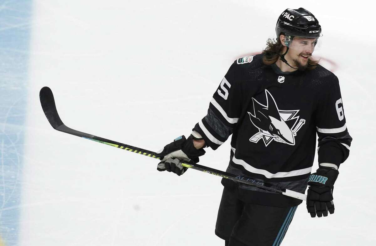 Erik Karlsson skates back to the bench after scoring a goal in the game between the Pacific Division and the Central Division of the NHL All-Star Game at SAP Center in San Jose, Calif. on Saturday, Jan. 26, 2019.