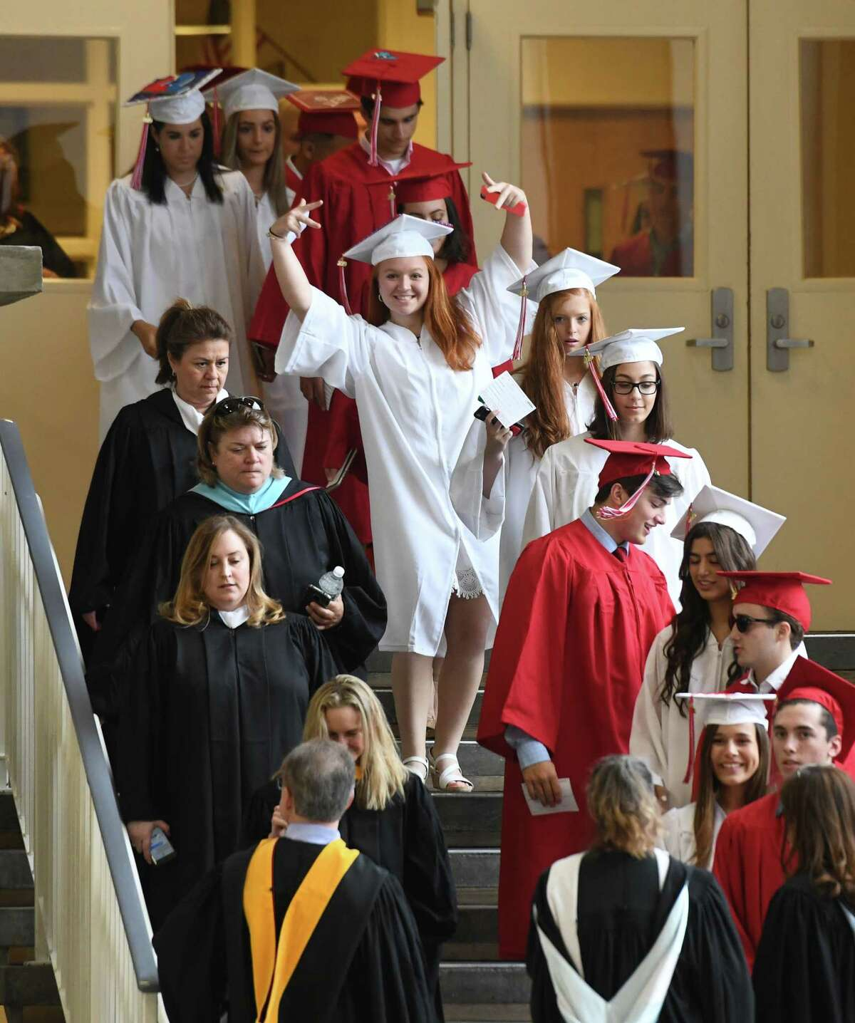 Photos from the 2019 Graduation at Greenwich's High School's Cardinal Stadium in Greenwich, Conn. Monday, June 17, 2019. Emmy-winning musician and composer Rob Mathes, GHS Class of 1981, delivered the commencement speech as 677 students received their diplomas.