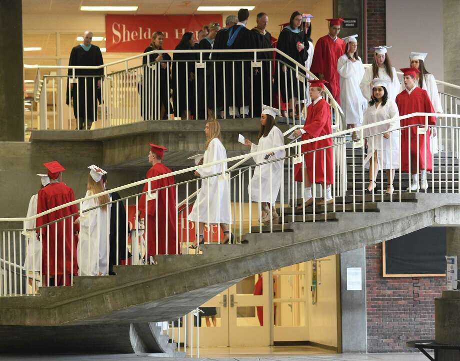 Photos from the 2019 Graduation at Greenwich's High School's Cardinal Stadium in Greenwich, Conn. Monday, June 17, 2019. Emmy-winning musician and composer Rob Mathes, GHS Class of 1981, delivered the commencement speech as 677 students received their diplomas. Photo: Tyler Sizemore, Hearst Connecticut Media / Greenwich Time