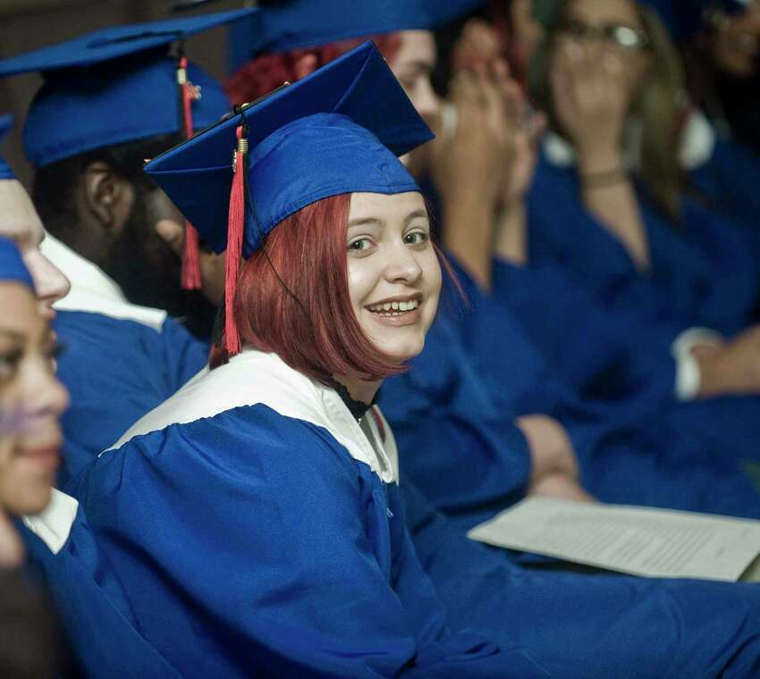 Alternative School for Excellence (ACE) graduate Bailee Dunn enjoying the graduation ceremony at WestConn's Midtown Student Center. Monday, June 17, 2019