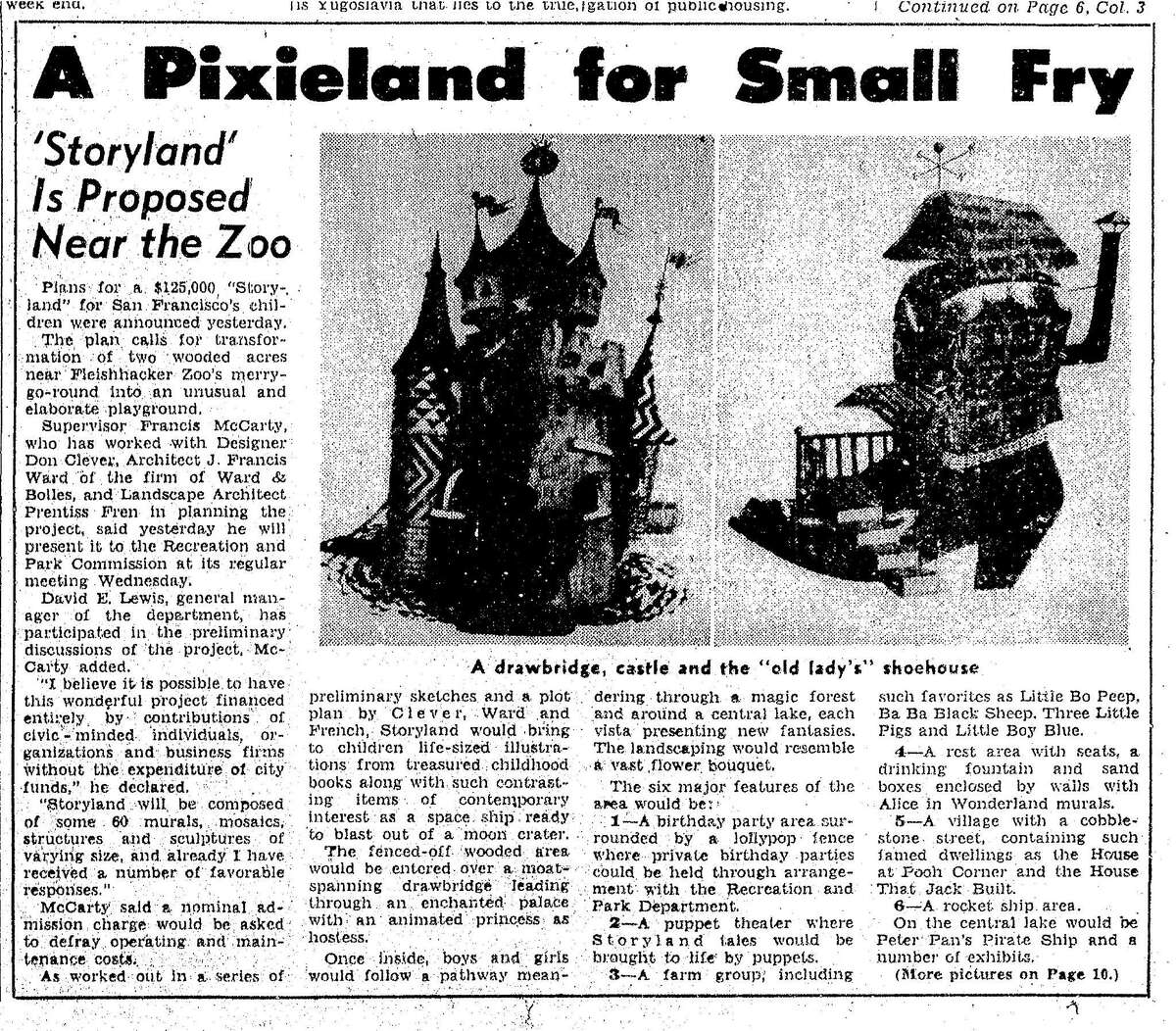 Chronicle article on the proposed amusement park for children at Storyland at Fleischhacker zoo, May 10, 1953